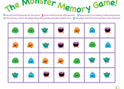 picture about 1st Grade Reading Games Printable titled Monster Memory Activity Worksheet