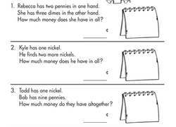 Penny, Nickel, Dime Word Problems | Worksheet | Education.com