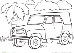 Worksheet Color A Car Jungle Jeep