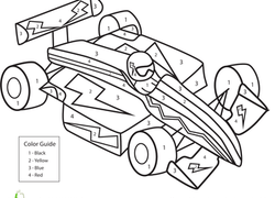Worksheet Color By Number Race Car