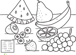 worksheet color by number fruit - Coloring Worksheets For Kindergarten