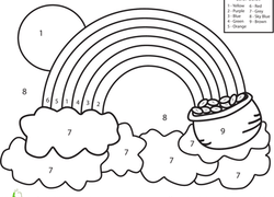 preschool math worksheet color by number rainbow - Coloring Pages For Preschoolers