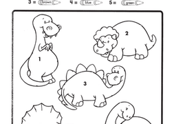 preschool science worksheet color by number dino dudes - Preschool Color Worksheets Free