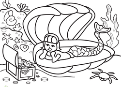 Kindergarten Worksheet Color The Marvelous Mermaid 3