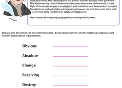 Vocab In History Declaration Of Independence Worksheet