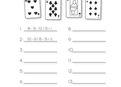 photo about Order of Operations Game Printable identified as Math Card Recreation: Fortunate 13 Worksheet