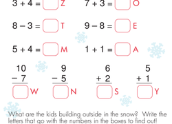 subtraction within   educationcom adding and subtracting whats the word  worksheet