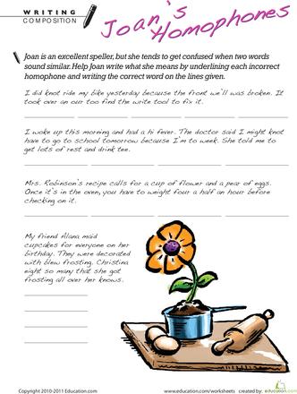 Homophone Worksheets - 2nd Grade | Education.com