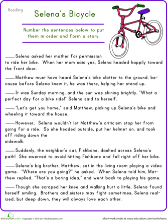 Worksheets 4th Grade Reading Comprehension Worksheets Students read and react 4th grade reading comprehension worksheets story sequencing selenas bicycle