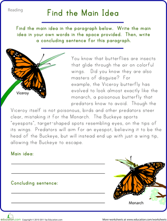 Printables Reading Worksheets 5th Grade 5 worksheets that boost 5th grade reading skills education com find the main idea viceroy butterfly