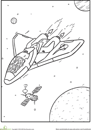 blast off into reading coloring pages | Outer Space Coloring Pages | Education.com
