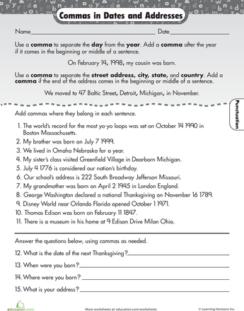Commas Worksheet 3rd Grade: Master the Comma! Comma Worksheets for 3rd Graders   Education com,