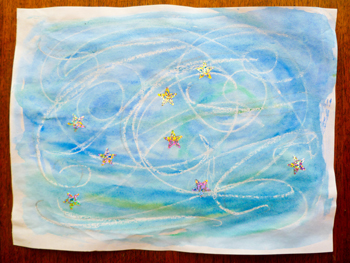 First Grade Arts & crafts Activities: Recreate van Gogh's Starry Night