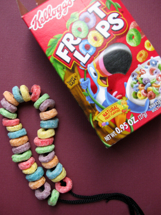 Kindergarten Math Activities: Make an Edible Fruitloop Bracelet