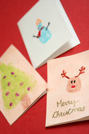 Preschool Holidays Activities: Fingerpaint Christmas Cards