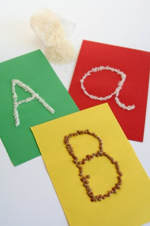 Kindergarten Reading & Writing Activities: Trace Letters on Rice