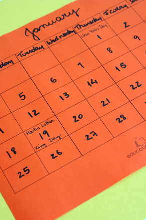 Second Grade Reading & Writing Activities: Practice Capitalization with a Homemade Calendar