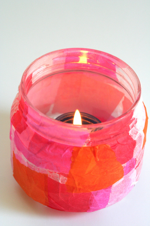 Kindergarten Arts & Crafts Activities: Tissue Paper Candle Holder