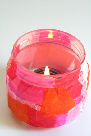 Kindergarten Arts & crafts Activities: Tissue Paper Candle Holder