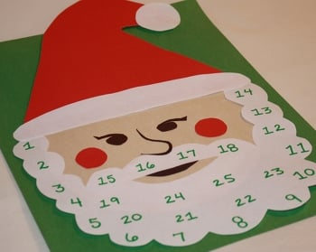 First Grade Holidays Activities: Christmas Countdown on Santa's Beard!