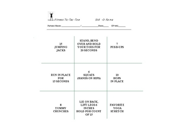 Fourth Grade Offline games Activities: Stay Active With Fitness Tic-Tac-Toe
