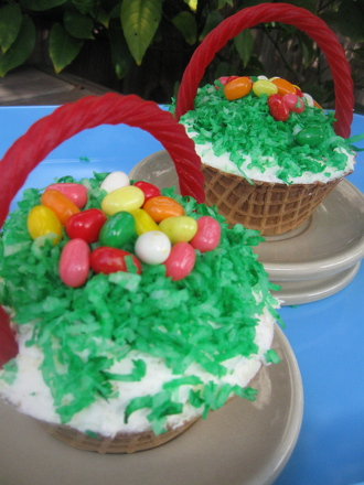 Third Grade Holidays & Seasons Activities: Easter Basket Cupcakes