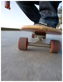 This science fair project idea  determines if material and tensile strength of different types of skateboard wheels affects the velocity of the skateboarder.