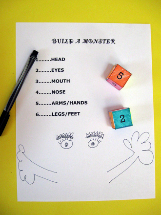 Kindergarten Math Activities: Play the Build a Monster Game!