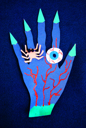 First Grade Holidays Activities: Scary Hand Halloween Decoration