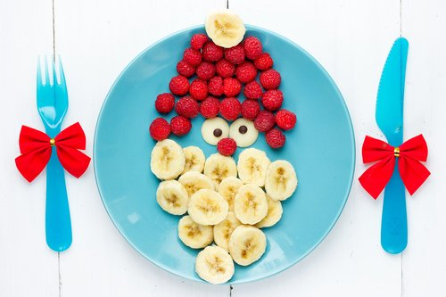 Preschool Holidays Activities: Create a Santa Face with Fruit