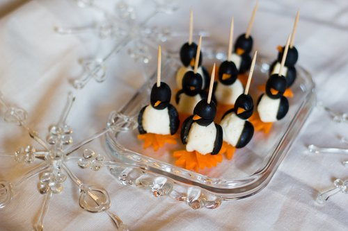 Preschool Holidays Activities: Build Mini-Penguin Appetizers