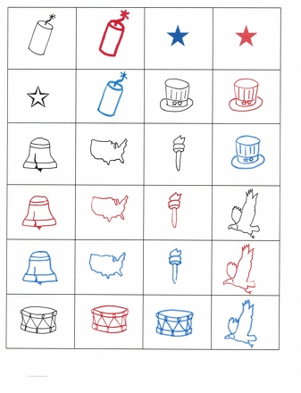Kindergarten Math Activities: 4th of July Bingo