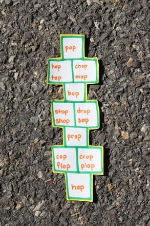 Kindergarten Offline Games Activities: Hop on Pop Hopscotch