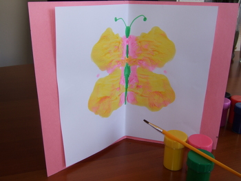 Kindergarten Arts & crafts Activities: Paint a Butterfly Birthday Card