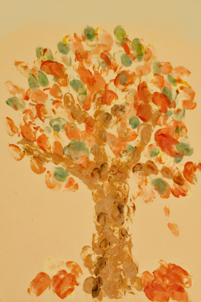 Preschool Seasons Activities: Fingerprint Fall Trees