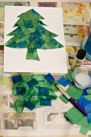 Kindergarten Holidays & Seasons Activities: Tissue Paper Christmas Tree