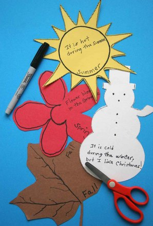 Second Grade Reading & Writing Activities: Use Adjectives to Craft Season Shapes!