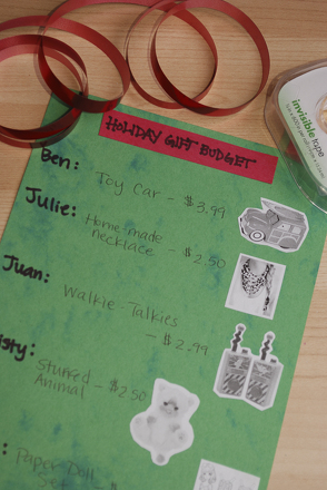 Fourth Grade Holidays Activities: Holiday Gift Budget