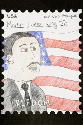 Fourth Grade Holidays Activities: Martin Luther King Stamp