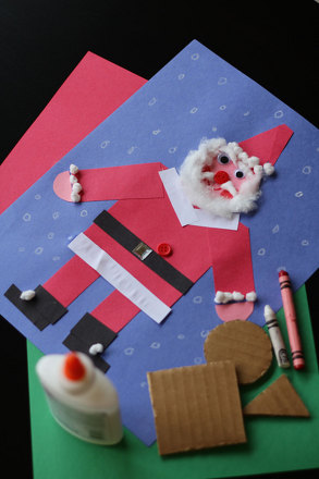 Preschool Math Activities: Learn Shapes with a Santa Collage