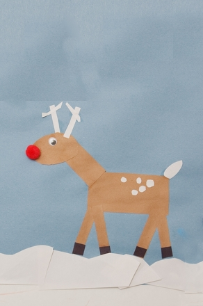 Kindergarten Holidays & Seasons Activities: Craft a Red Nosed Reindeer Collage