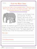 Worksheets 4th Grade Main Idea Worksheets find the main idea shark worksheet education com elephant
