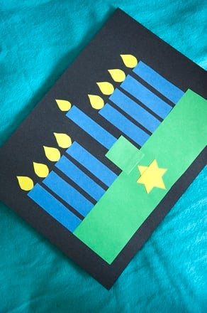 Preschool Holidays & Seasons Activities: Hanukkah Menorah Shape Collage