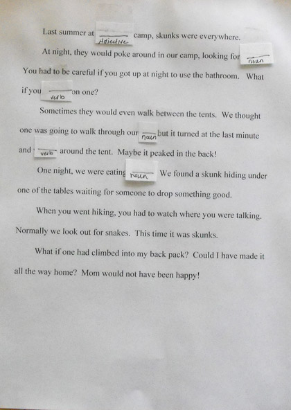 Fourth Grade Reading & Writing Activities: Fill in the Blanks