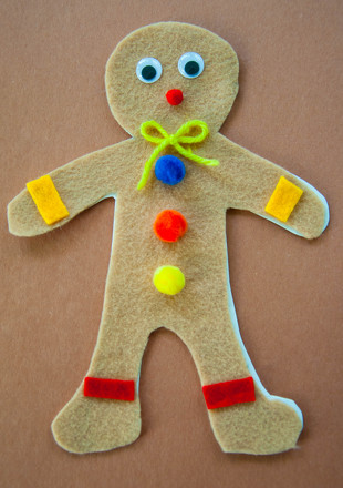 Kindergarten Arts & crafts Activities: Felt Gingerbread Man