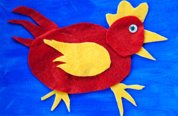 Kindergarten Arts & Crafts Activities: Little Red Felt Hen Craft