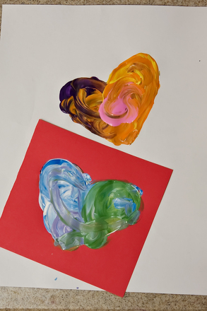 First Grade Holidays & Seasons Activities: Make Stenciled Heart Paintings
