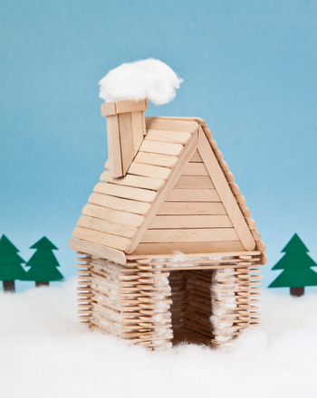 Kindergarten Holidays & Seasons Activities: Popsicle Stick Log Cabin