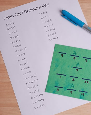 Second Grade Math Activities: Math Facts Secret Codes