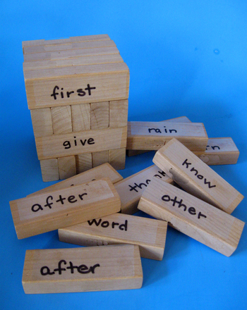 First Grade Reading & Writing Activities: Sight Word Jenga